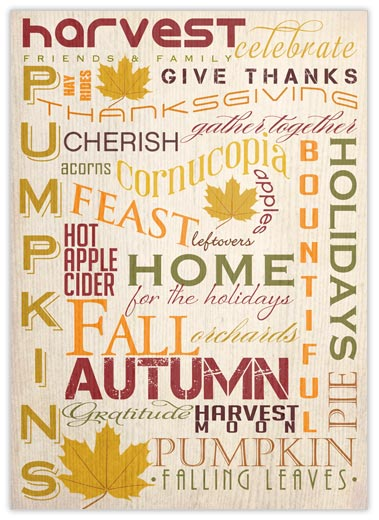 Many Words of Thanksgiving - Thanksgiving Cards from CardsDirect