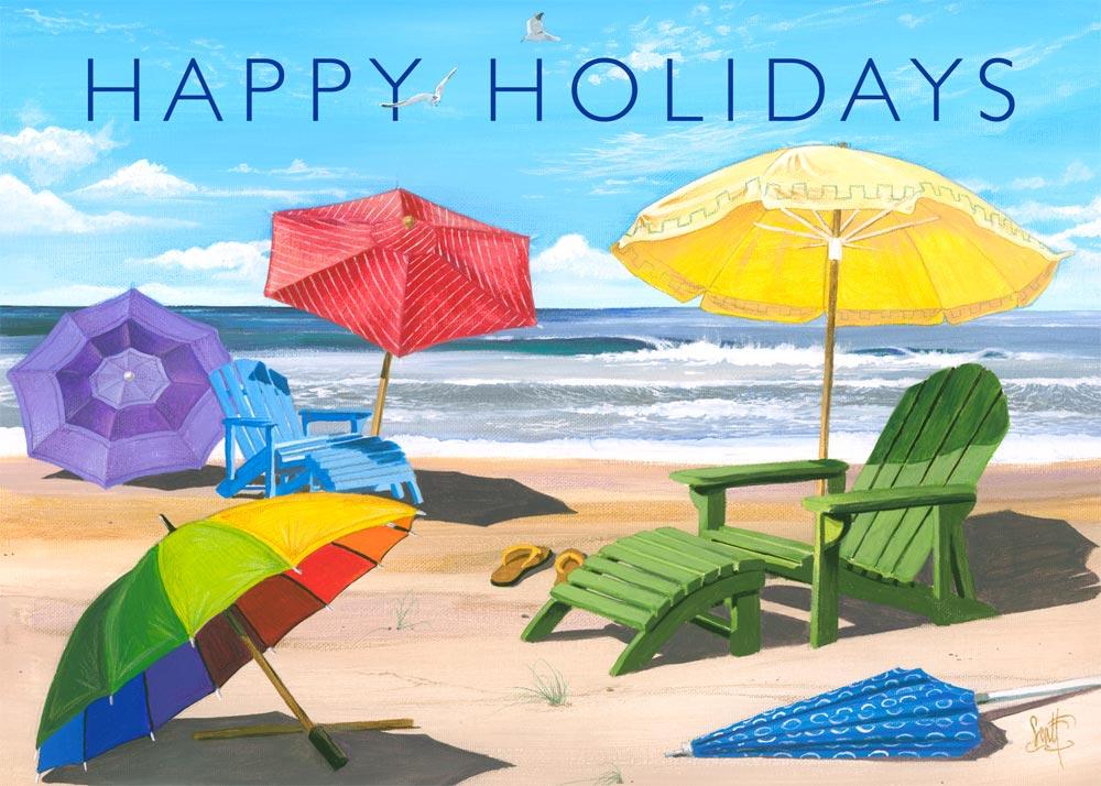 happy holidays beach