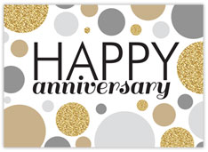 Gold Gray Dots Anniversary