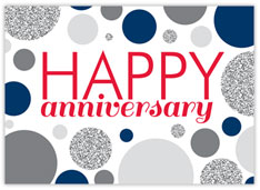 Gray Blue Dots Anniversary
