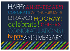 Colorful Blue Wordy Anniversary