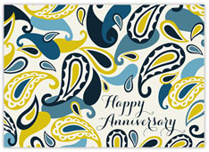 Blue Yellow Paisley Anniversary