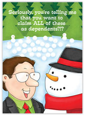 Serious Snowman Accounting Card