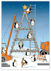 Construction Penguins Christmas Card