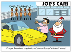 Retired Reindeer Auto Sales Christmas Card