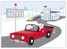 North Pole Auto Sales Christmas Card