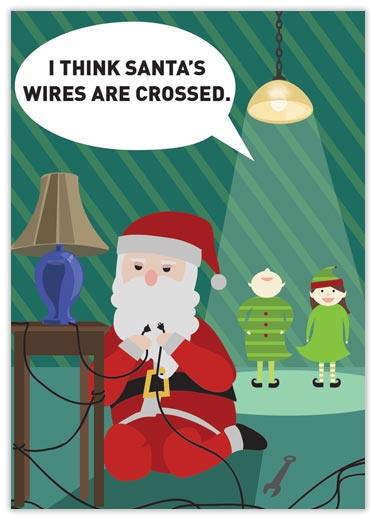 Crossed Wires Electrician Christmas Card - Electrical from Brookhollow