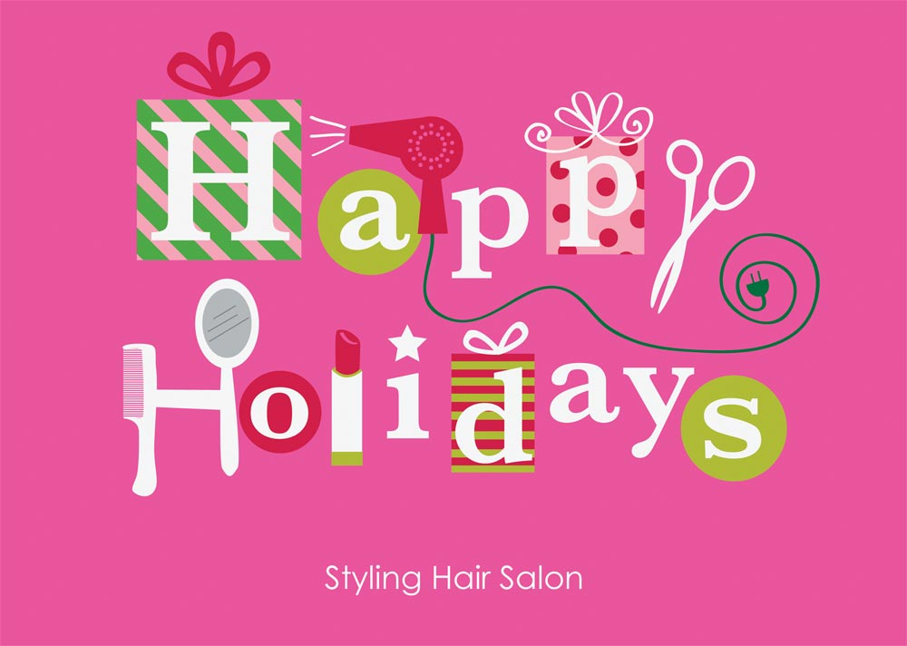 happy holidays beauty salon card beauty salon from