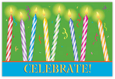 Glowing Celebration Birthday Postcard