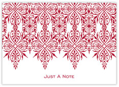 Scarlet Damask Note Card