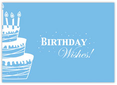 Blue Wishes and Cake Birthday Card