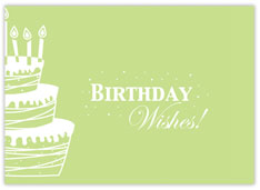 Green Wishes and Cake Birthday Card
