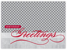 Bright Red Birthday Patterns Card