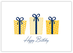 Yellow Gifts Aplenty Birthday Card