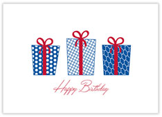 Blue Gifts Aplenty Birthday Card