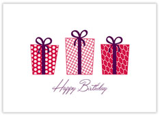 Red Gifts Aplenty Birthday Card