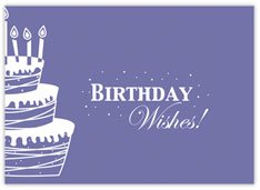 Purple Wishes and Cake Birthday Card