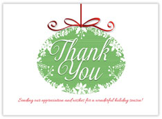 Simple Green Thank You Ornament
