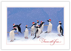 Holiday Penguin Party Card
