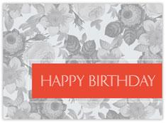 Orange Floral Birthday Card
