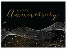 Black Stardust Anniversary Card