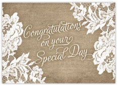 Rustic Lace Wedding Congratulations Card