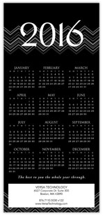 2016 Chevron Black Calendar Card