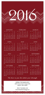 2016 Chevron Red Calendar Card