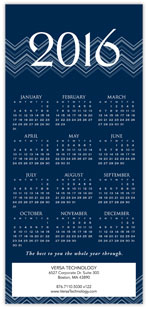2016 Chevron Blue Calendar Card