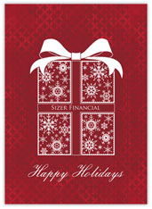 Red Snowflake Package Holiday Card