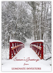 Winter Red Bridge Holiday Card
