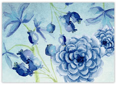 Azure Watercolor Flowers