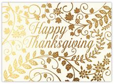Golden Glitter Thanksgiving Card