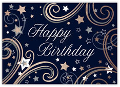 Blue Swirly Stars Birthday