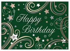 Green Swirly Stars Birthday