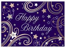 Purple Swirly Stars Birthday