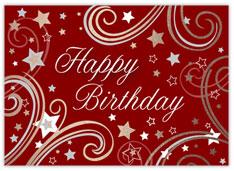 Red Swirly Stars Birthday Card