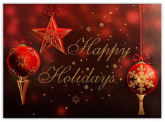 Red Ornament Trio Holiday Card