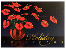 Red Anthirum Flowers Holiday Card