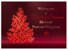 Brilliant Red Berry Tree Holiday Card