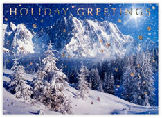 Snowcapped Mountains Holiday Card
