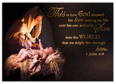 1 John 4:9 Religious Christmas Card