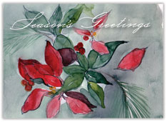 Watercolor Poinsettias