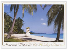Snowman on the Beach Holiday Card