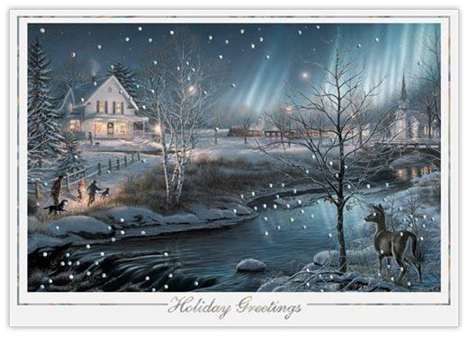Northern Lights Holiday Card - Winter Scenes from CardsDirect