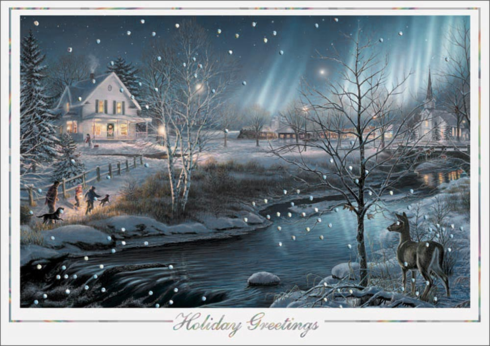 northern lights holiday card winter scenes from cardsdirect