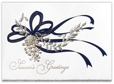 Pine Cone in Silver Christmas Card