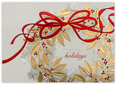 Holly and Pine Wreath Card