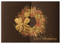Shimmer Thanksgiving Wreath Card