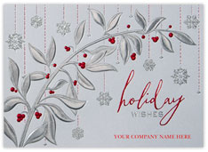 Berry Branch and Snowflakes Card